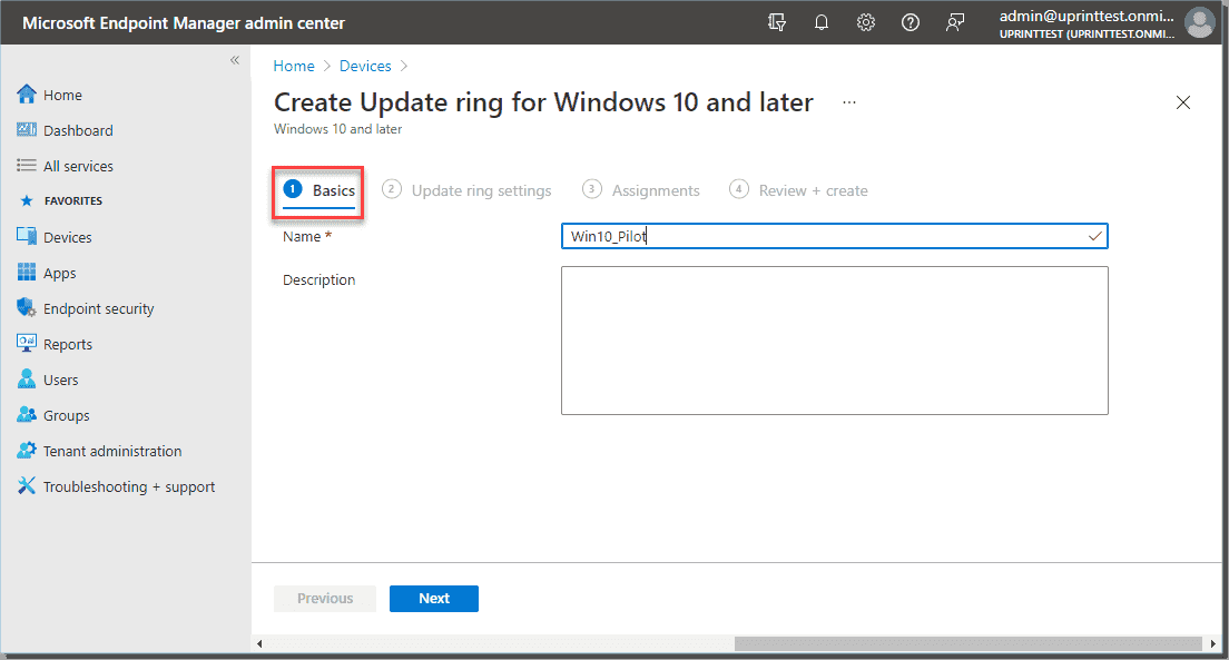 Choose a name for the update ring profile