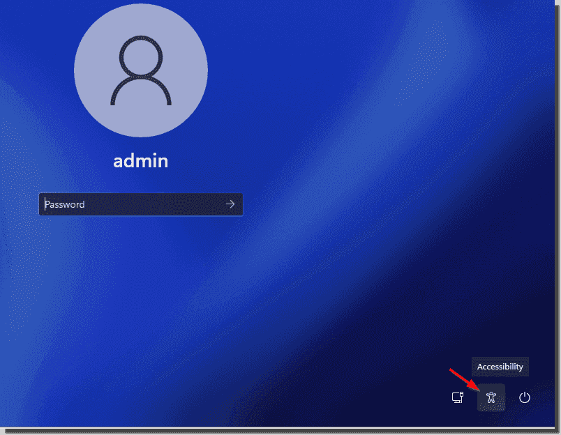 Click the Accessibility icon to launch the command prompt