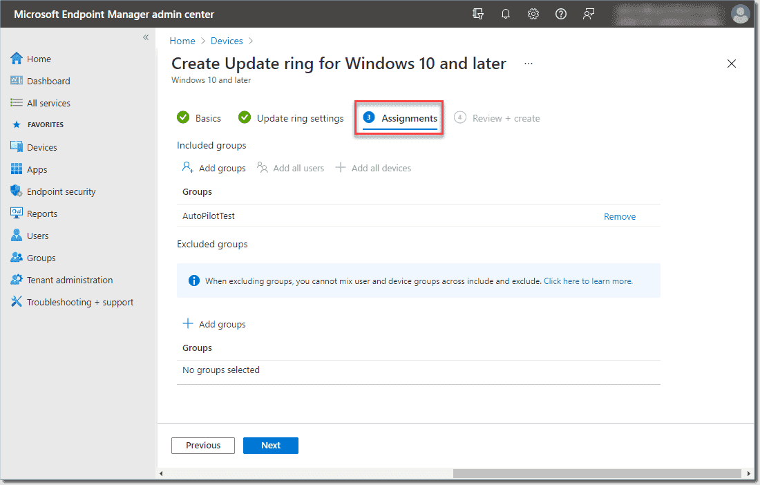 Configure the assignments for the Windows update ring policy