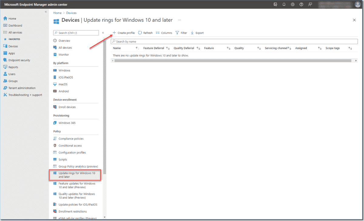 Create a new update ring for Windows 10 in Endpoint Manager devices