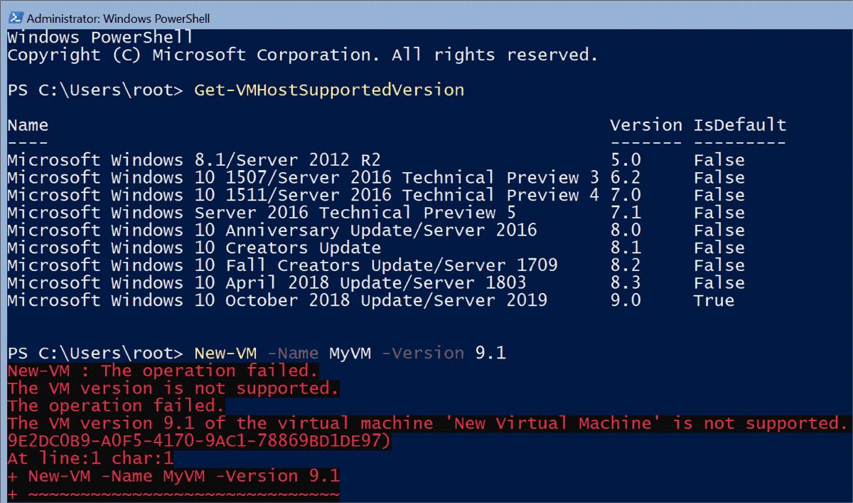 Hyper V Server 2019 supports VM Configuration Version 9.0 at most