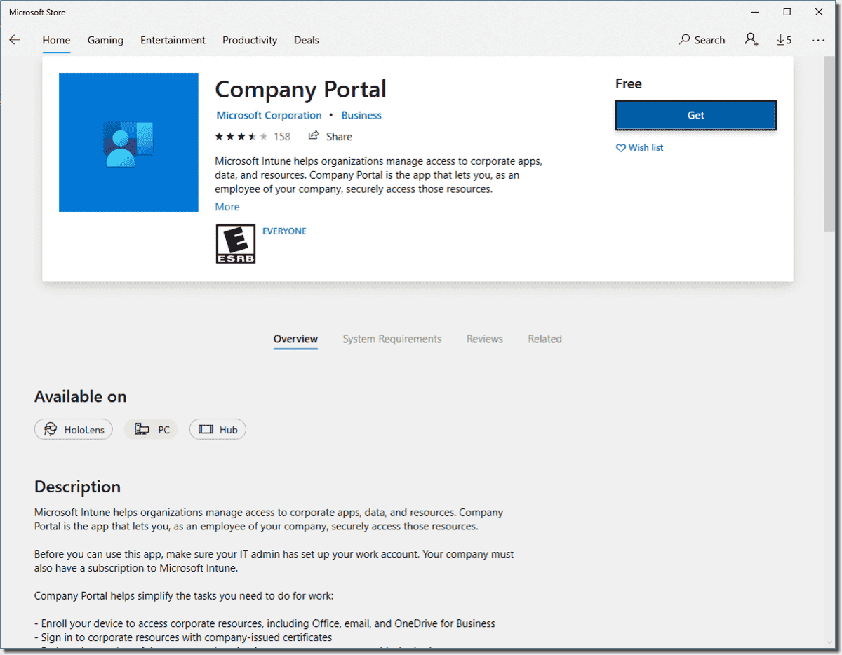 Installing the company portal from the Microsoft Store