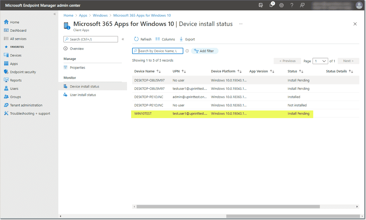 Microsoft 365 apps assigned and pending installation for an Intune managed device