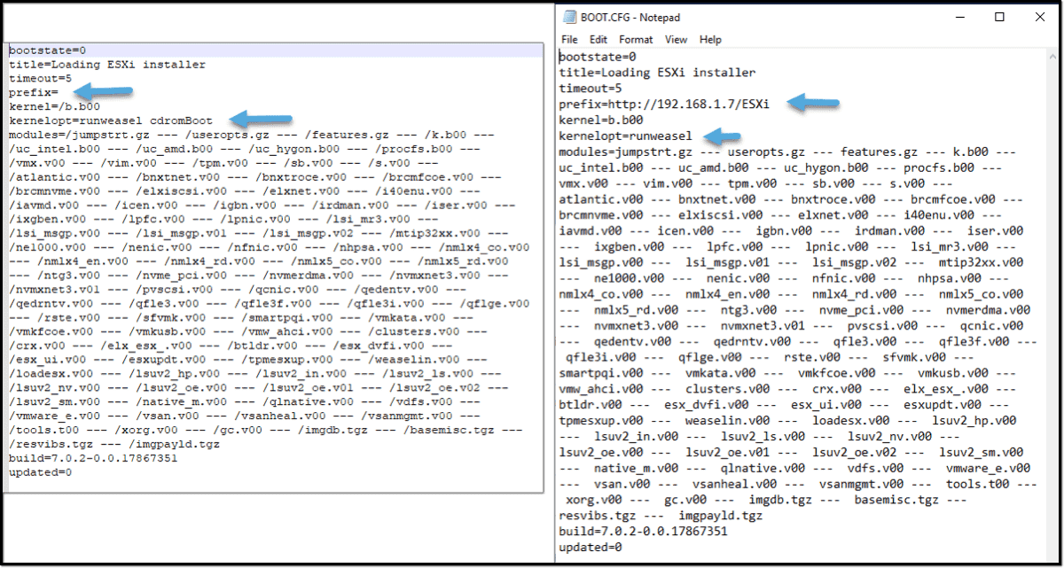 Modify the boot.cfg file