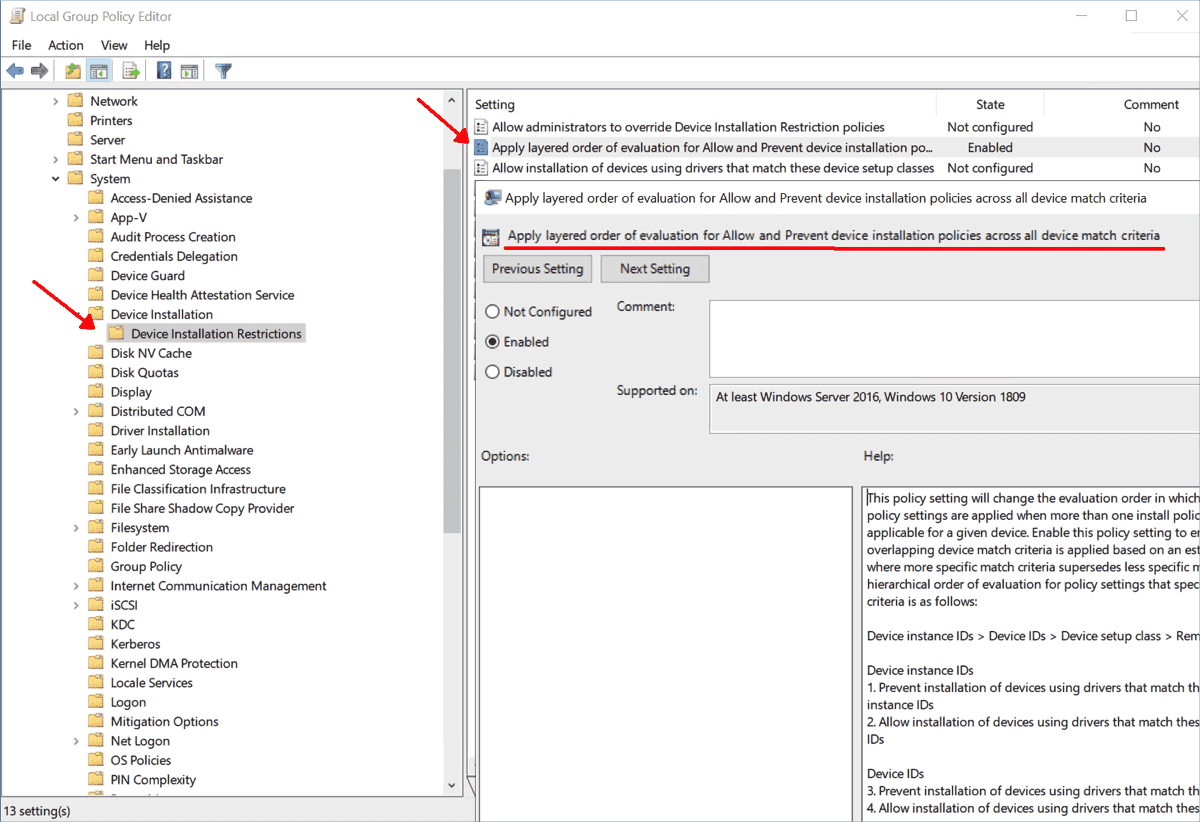 New setting for changing logic when processing the rules for device installation
