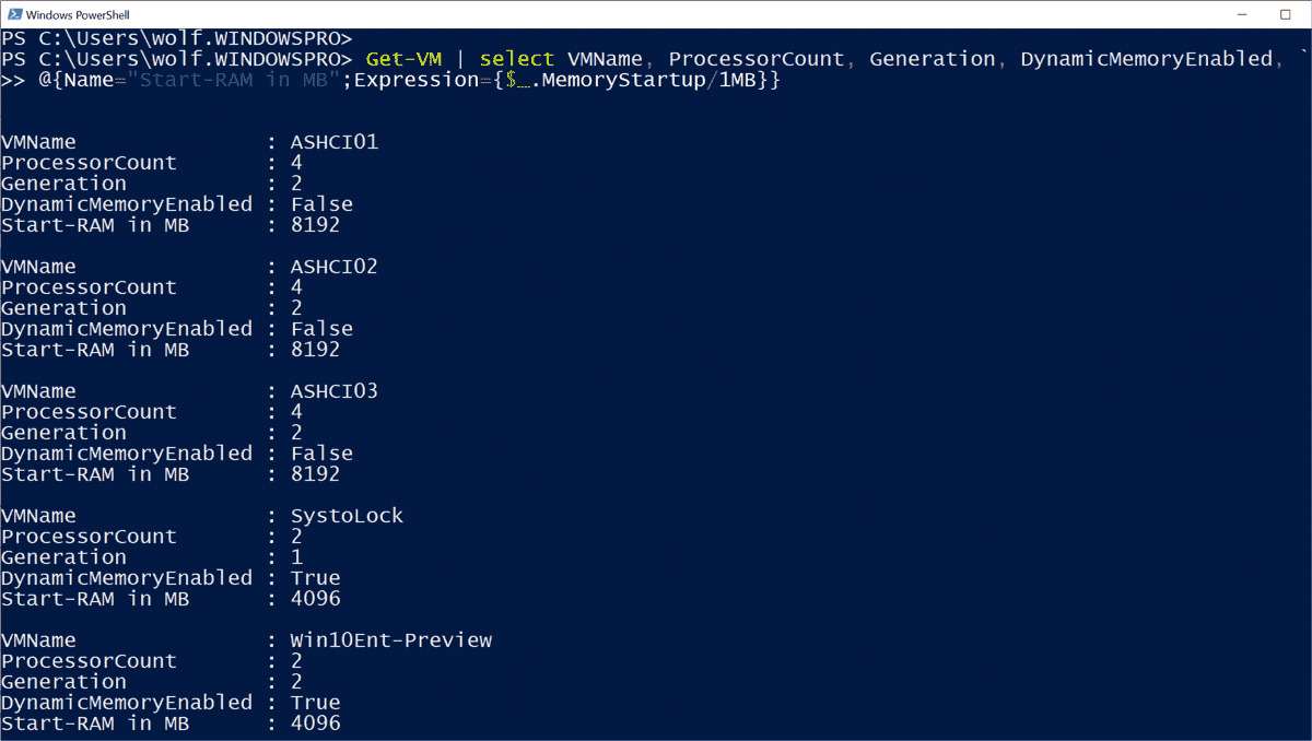 Output of VM settings with PowerShell