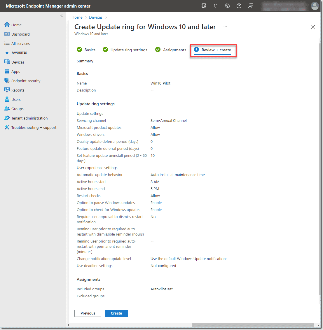 Review and create the new Windows update ring policy using Microsoft Intune