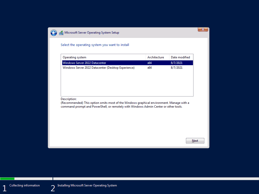 Server Core is the default installation option in the Windows Server 2022 setup.