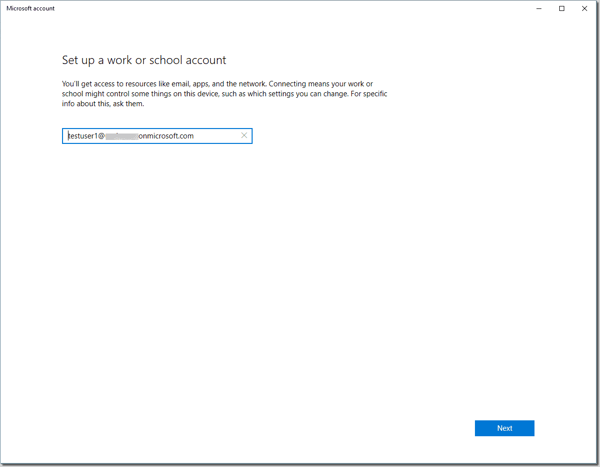 Set up a work or school account