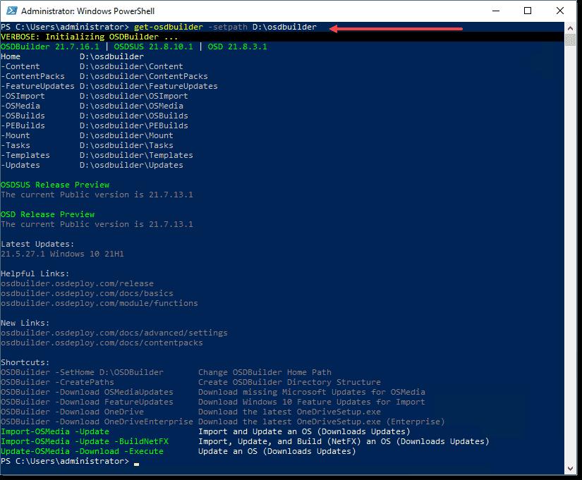 Setting the OSDBuilder paths