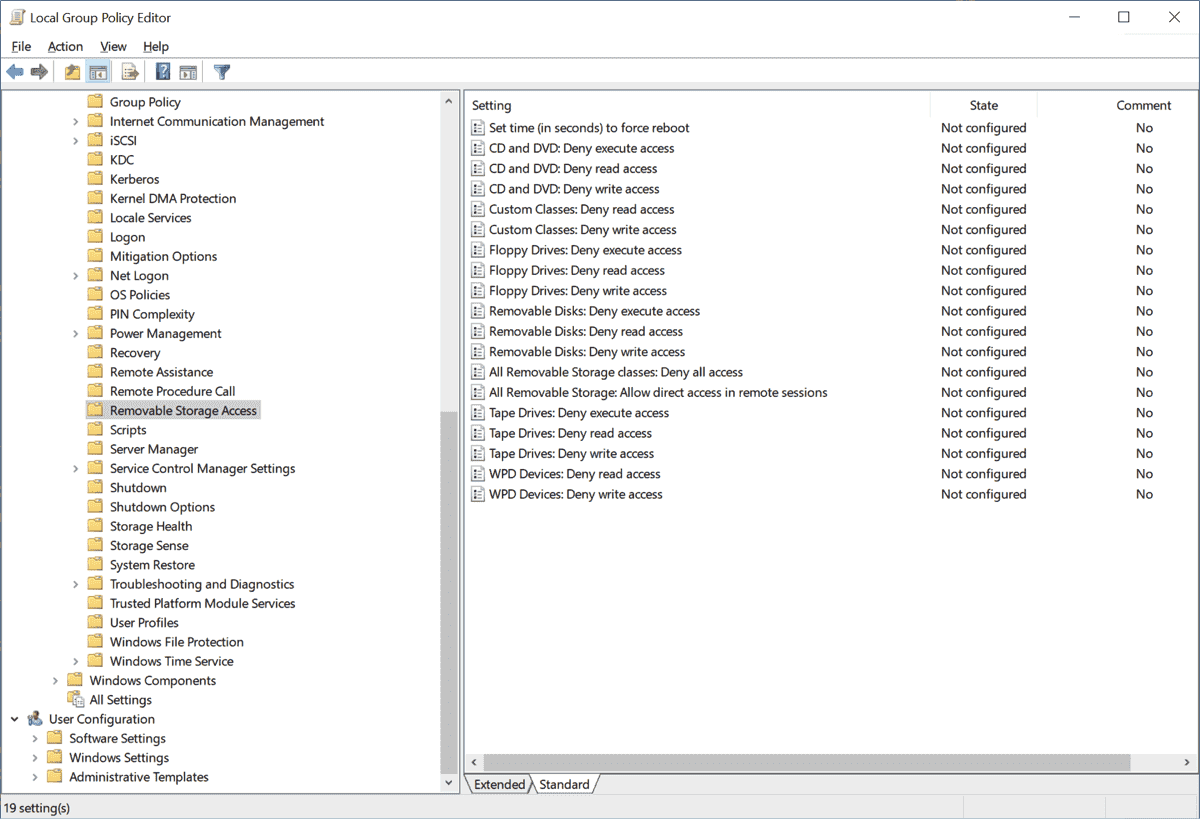 Settings for access rights to removable storage media