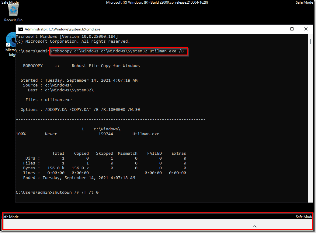 Taskbar is missing in Safe mode