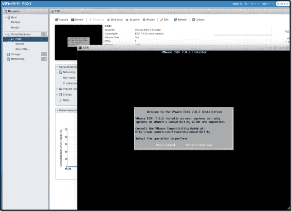 The ESXi 7.0.2 Installer waiting for input