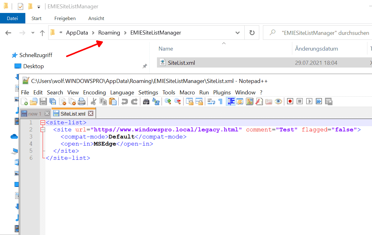 The Enterprise Mode Site List Manager saves the URL list in the required XML format