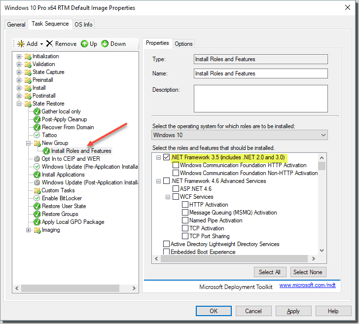 Using a task sequence in MDT to build and capture a Windows 10 image