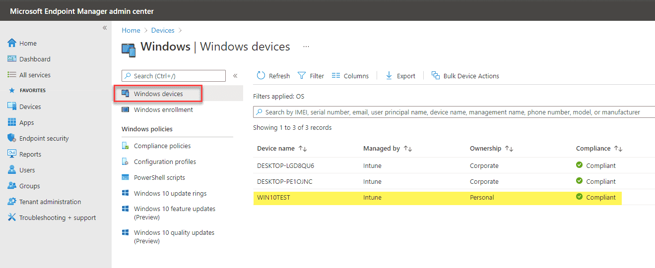 Verifying the Windows device from Intune management