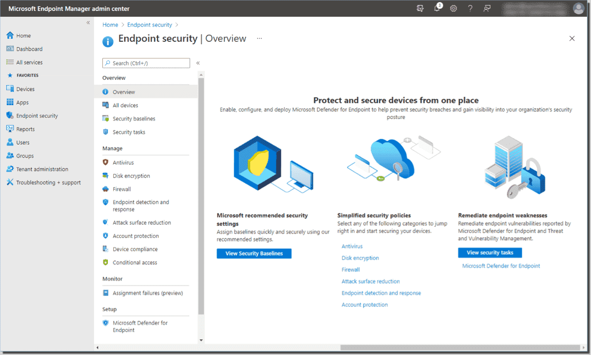 Viewing Endpoint security options with Intune