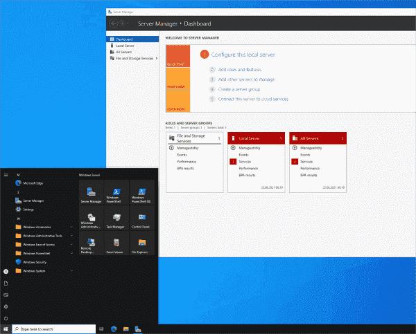 Windows Server 2022 offers the familiar Windows 10 desktop.
