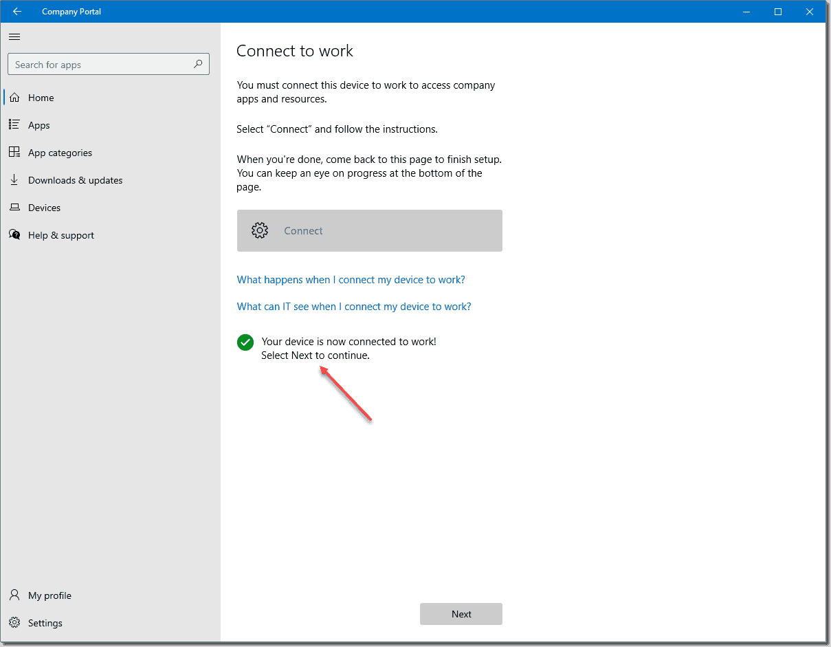 Your device is now successfully connected to Intune and managed