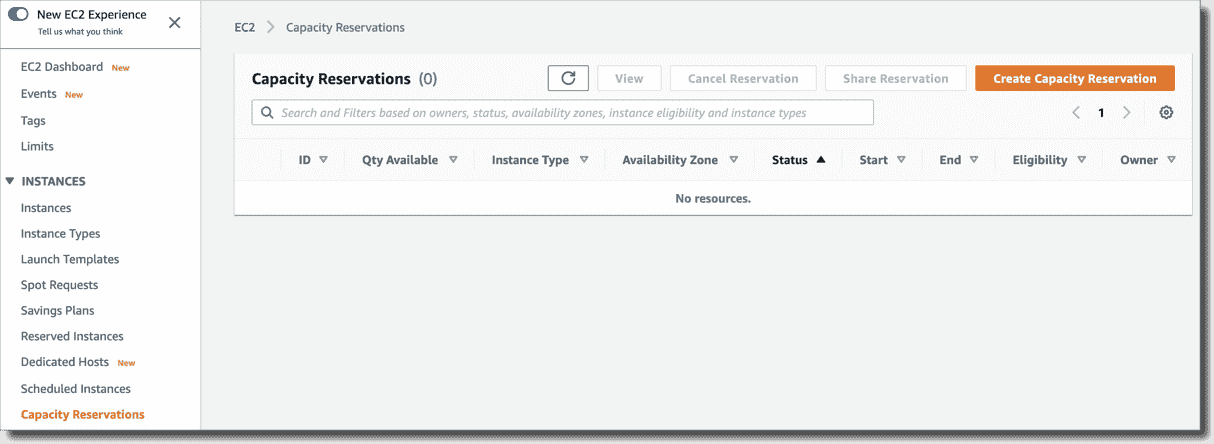 Capacity Reservations console