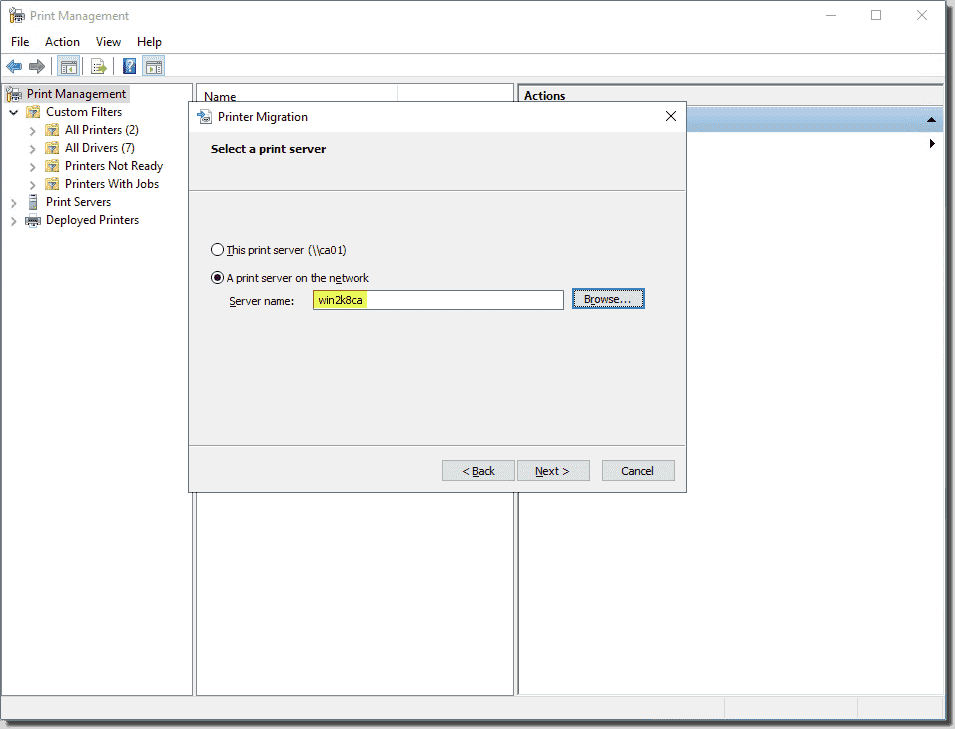 Choose the source of the printer settings export