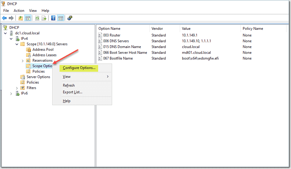 Configuring DHCP server scope options