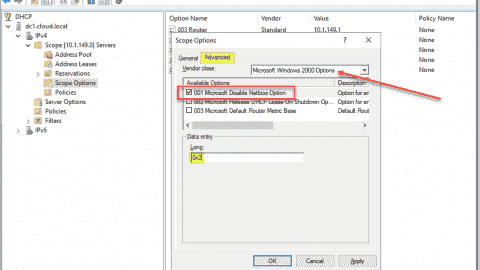 Disabling NetBIOS using a DHCP scope option in Windows Server DHCP