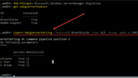 Exporting compatible roles and features from the source server