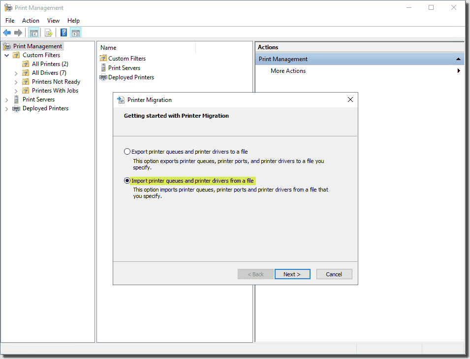 Import printer queues and printer drivers from a file