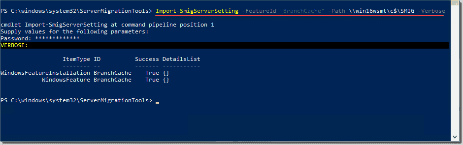 Importing features using the WSMT import cmdlet