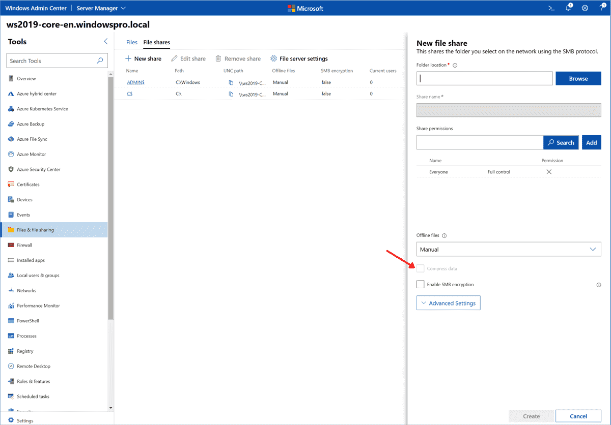 Option to enable SMB compression for a specific share