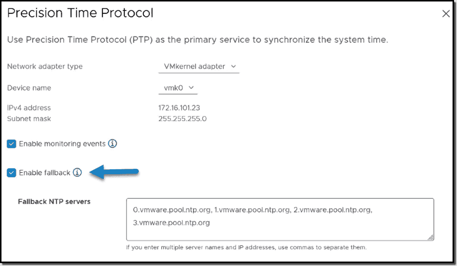 PTP now has fallback to NTP