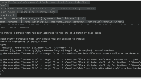 Renaming files with a PowerShell script
