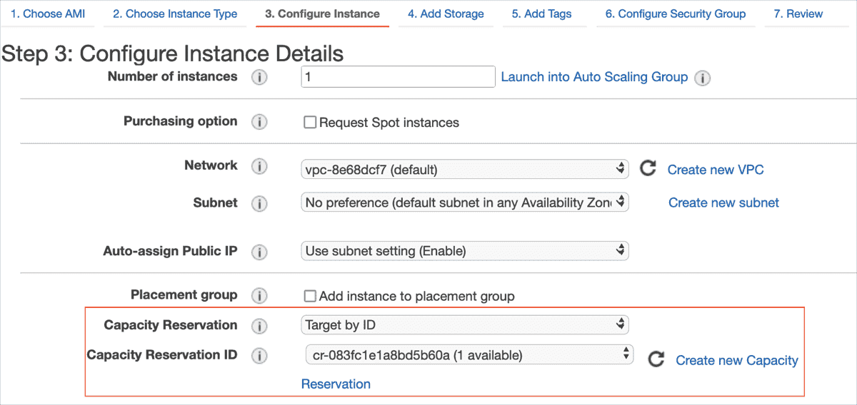 Specify Capacity Reservation while creating the EC2 instance