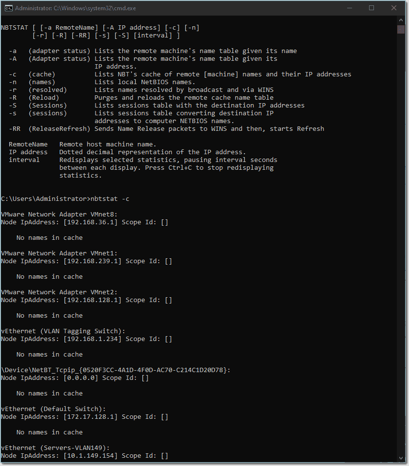 Using nbtstat to find cached NetBIOS name resolution