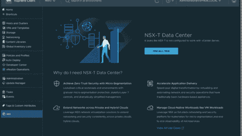 VMware NSX UI in the vSphere client