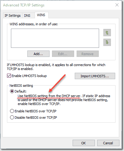 Windows 10 NetBIOS settings from the DHCP server