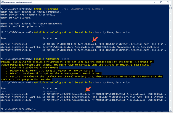 Disable PSRemoting blocks remote access to session configurations