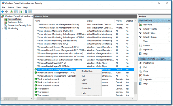 Disable Windows Firewall exceptions