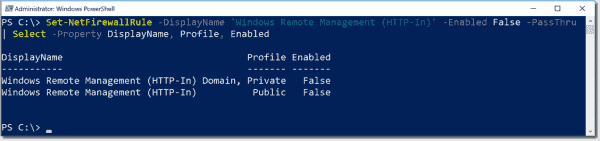 Disable the remoting firewall exceptions with PowerShell