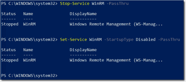 Stopping and disabling the WinRM service with PowerShell
