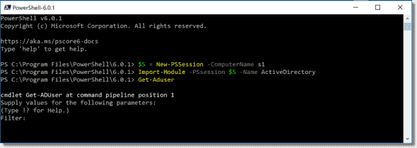 Import the AD module on PowerShell Core 6.0