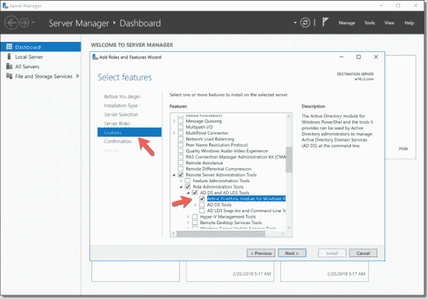 Install the AD module on Windows Server 2016