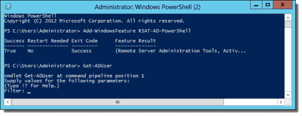 Installing the AD module on Windows Server 2012 with PowerShell