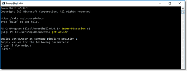 Managing Active Directory on PowerShell Core in an interactive remote session