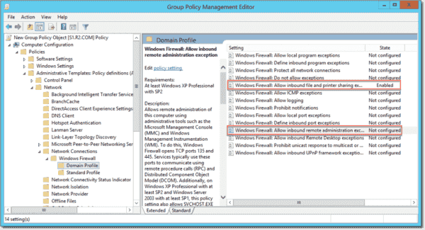 Allow file and printer sharing in Windows Firewall with Group Policy