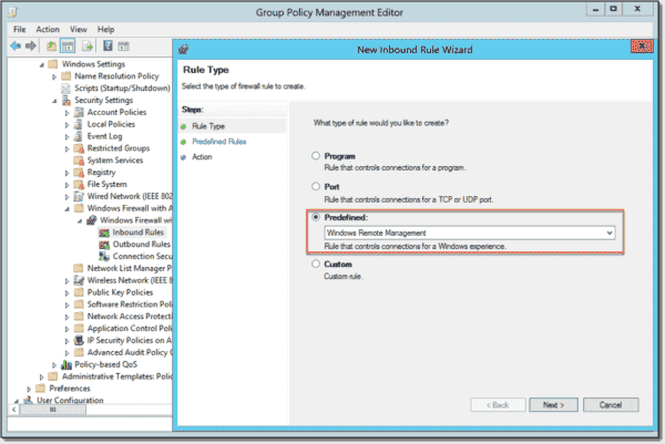 Allow inbound connections for Windows Remote Management