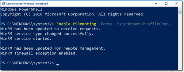Enable PowerShell remoting with Enable PSRemoting