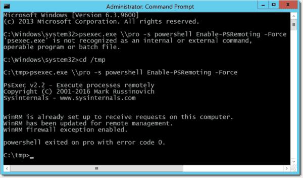Enable PowerShell remoting with PsExec