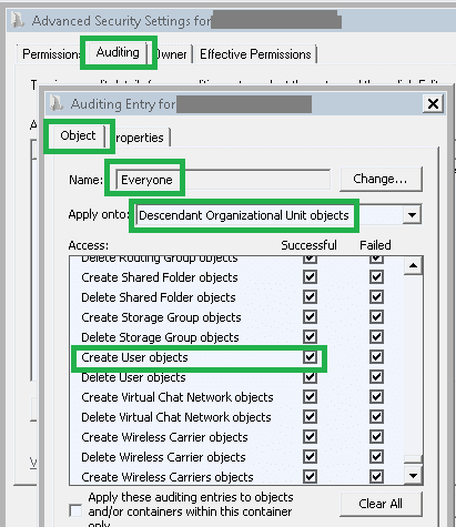 Audit creation of users